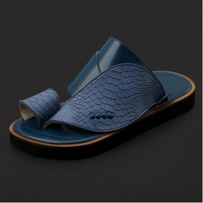 حذاء شرقي جلد بنقشة ساق النعام - SS3001