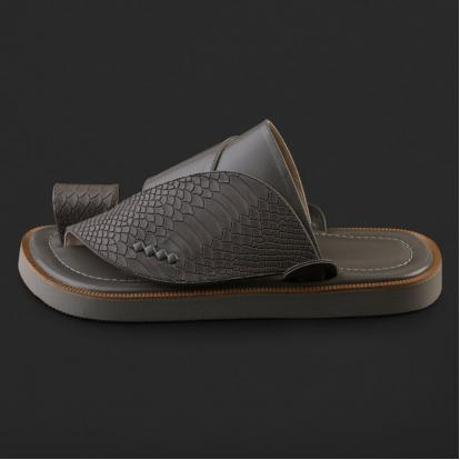 حذاء شرقي جلد بنقشة ساق النعام - SS3003