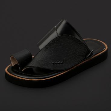 حذاء شرقي جلد بنقشة ساق النعام - SS3004