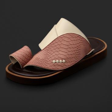 حذاء شرقي جلد بنقشة ساق النعام - SS3005