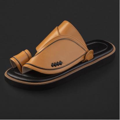 حذاء شرقي جلد كلاسيكي مخطط SE9114