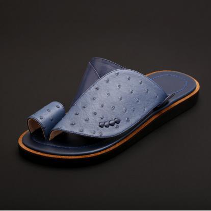 حذاء شرقي جلد نعام ازرق MG15