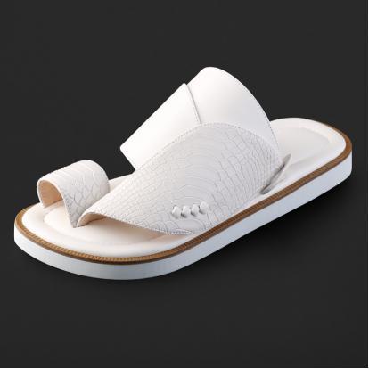 حذاء شرقي جلد بنقشة ساق النعام - SS3008